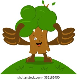 Illustration vector graphic cartoon character of tree with thumbs up