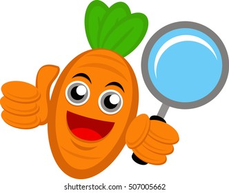 Illustration vector graphic cartoon character of carrot holding magnifying glass