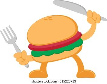 Illustration vector graphic cartoon character of burger
