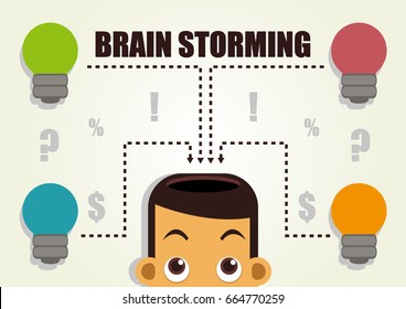 Illustration vector graphic cartoon character of brainstorming