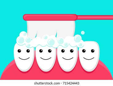 Illustration vector graphic cartoon character of teeth brushed