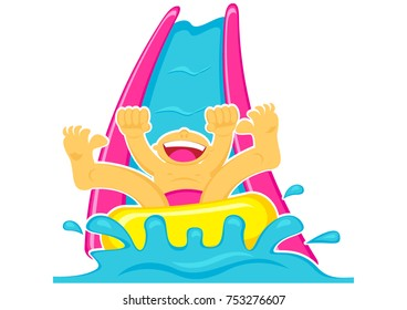 Illustration Vector Graphic Cartoon Character of Boy Sliding on Water Boom