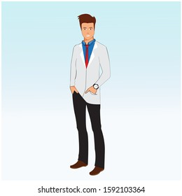 illustration vector graphic character of male doctor with red tie