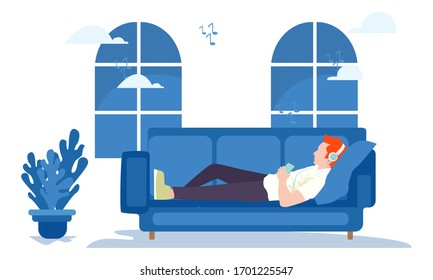 illustration vector graphic of the concept of staying at home. Men who sleep on the couch listening to music