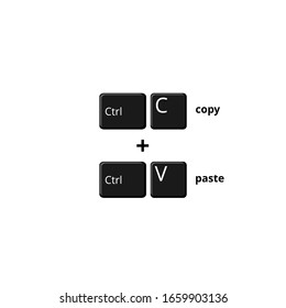 Illustration Vector Graphic of copy (ctrl + c) and paste (ctrl + v) shortcuts in notebook keyboard