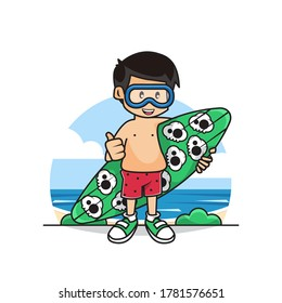 Illustration Vector Graphic of Cute Boys Holding a Surfing Board in the Summer Beach..