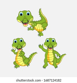 illustration vector graphic of cute  crocodile animal character cartoon isolated, perfect for cover, book, birthday card, gift card, wrap paper, sticker, t-shirt, memo, decoration