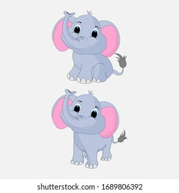illustration vector graphic of cute  elephant animal character cartoon isolated, perfect for cover, book, birthday card, gift card, wrap paper, sticker, t-shirt, memo, decoration