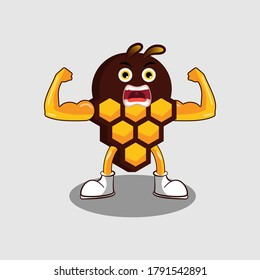 Illustration Vector Graphic Of Cute Muscular Honey Mascot, Suitable for Sweet and Bee Theme Design