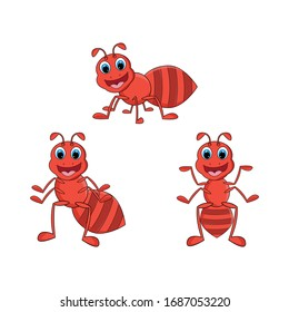 illustration vector graphic of cute  red ant animal character cartoon isolated, perfect for cover, book, birthday card, gift card, wrap paper, sticker, t-shirt, memo, decoration