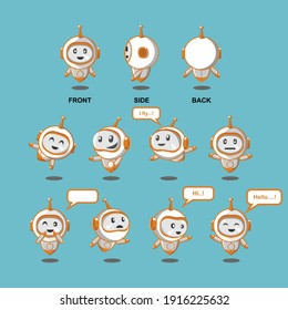 illustration vector graphic of cute robot perfect for logo icon character promotion etc