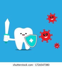 Illustration vector graphic of cute  tooth with sword and shield fighting virus and bacteria