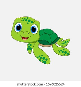 illustration vector graphic of cute  turtle animal character cartoon isolated, perfect for cover, book, birthday card, gift card, wrap paper, sticker