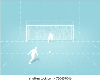 illustration vector graphic design concept of penalty kick soccer training