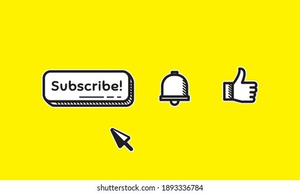Illustration Vector Graphic Doodle Art of Subscribe Button, Like and Notification Bell Icon. Suitable for vlog asset.