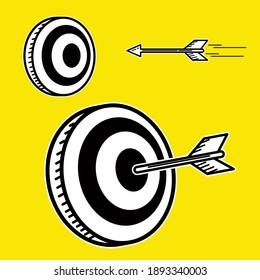 Illustration Vector Graphic Doodle Art of Target Hit by Arrow. Suitable for business content.