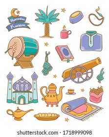 Illustration vector graphic of Doodle ramadan kareem 2 color