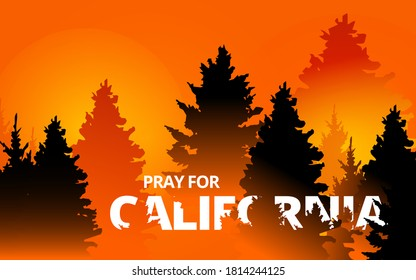 Illustration vector graphic of forest fire in California state, USA. Trees about to burn in red, orange wildfire. Creek fire in the forest. Pray for California's Creek Fire concept. Flat style.