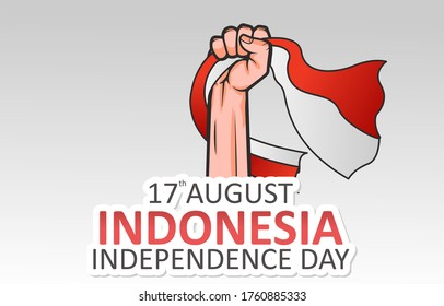 Illustration Vector Graphic Of Hand Holding Indonesian Flag, Greeting Cards And Posters, Design Suitable for Indonesian Independence Day