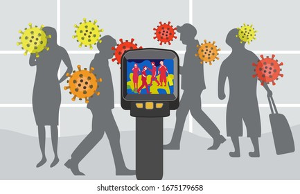 Illustration vector graphic of  Infrared Thermal Camera scanner detecting infected people with Covid-19. Device for controlling temperature on surfaces and people with high temperature in a crowd.
