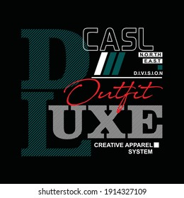 Illustration vector graphic of lettering, deluxe casual, perfect for t-shirts design, clothing, hoodies, etc.