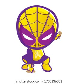 illustration vector graphic of little yellow spiderman and etc