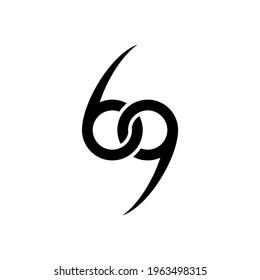 illustration vector graphic of logo number 69 monogram