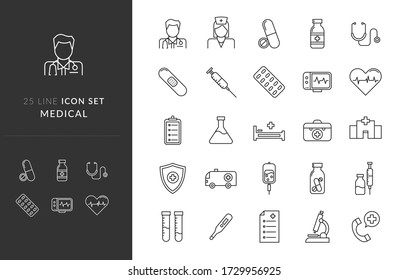 Illustration vector graphic of Medical/Healthcare Icon Set - You will get 25 premium icon sets Medical/Healthcare it contains doctor, nurse, drugs, hospital, and many more.