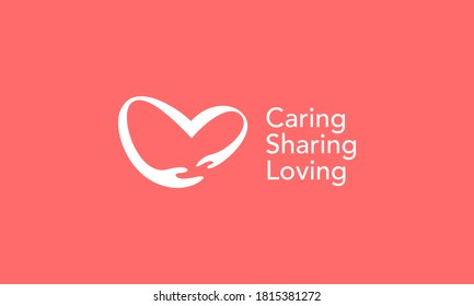 illustration vector graphic of modern, simple, flat, abstract mark, combination hand and heart love, caring, sharing, loving logo design