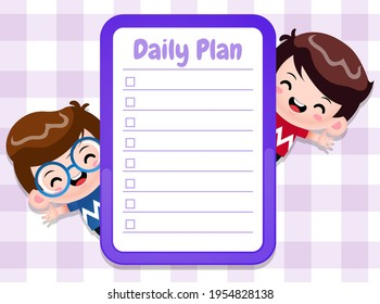 Illustration vector graphic of Paper Memo Pads Note Template With Cute Boys. Perfect for children book cover, children book illustrations, game illustration, game assets, animation, etc.