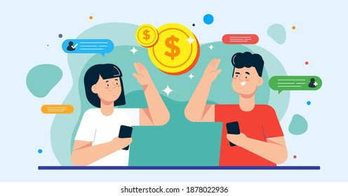 Illustration vector graphic of people making money from referral. Refer a friend or referral marketing concept. Perfect for poster, banner, web, promotion, application, card, template, coverbook. etc.