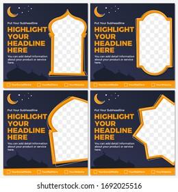 Illustration vector graphic of Ramadan social media feed template.