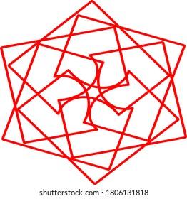 illustration vector graphic of red flower mandala concept design