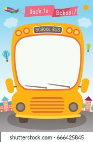 Illustration vector graphic school bus for back to school poster template.