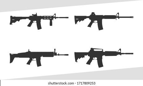 Illustration vector graphic set of assault rifle silhouette, machine gun vector. AR gun.