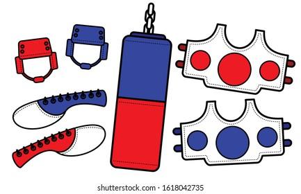 Illustration vector graphic set of Taekwondo equipment. Good for taekwondo club, communtity graphic asset, etc.