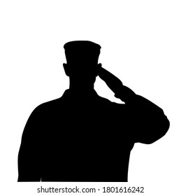 Illustration vector graphic, silhouette of half body a soldier was salute. Good for your web, icon, poster, etc