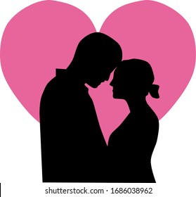 Illustration vector graphic silhouette of a love couple