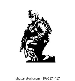 Illustration Vector graphic of soldier fit for military, navy, infantry etc.