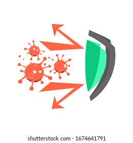 Illustration vector graphic of strong shield deflecting attack from corona viruses
