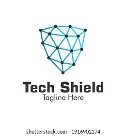 Illustration Vector Graphic of Tech Shield Logo . Perfect to use for Technology Company