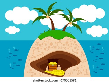 Illustration vector Graphic of Treasure Island