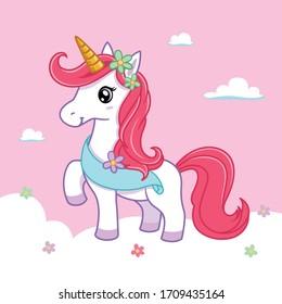 illustration vector graphic of unicorn cute 2