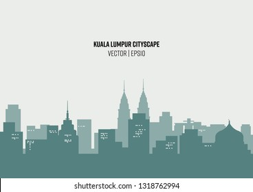Illustration Vector: Green and beige silhouette cityscape background