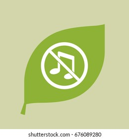 Illustration of a vector green leaf icon with  a musical note  in a not allowed signal