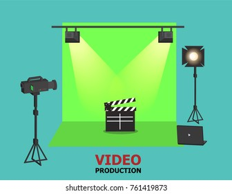 Illustration vector of green screen studio and light as video production concept