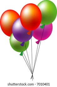 a illustration, vector for a group of colorful balloons