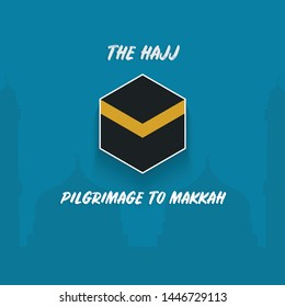 Illustration vector: The Hajj Pilgrimage to Makkah, Silhoutte mosque with desert background