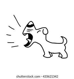 illustration vector hand draw doodles of barking dog isolated on white background