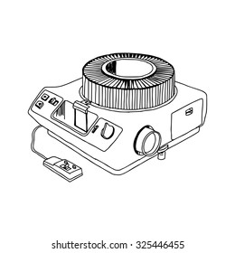 illustration vector hand drawn doodle of slide projector isolated on white background